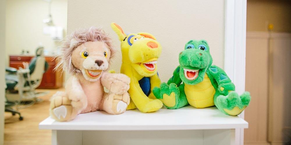 A group of stuffed animals.